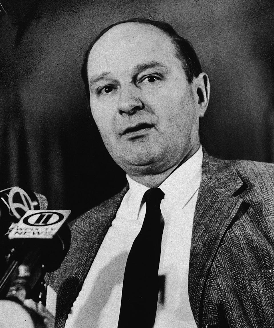 """<h2>David Dellinger</h2><br>David Dellinger had been a radical pacifist and anti-war agitator since World War II, so his conscientious objection to and subsequent protest against American involvement in the Vietnam War came as no surprise to any who were familiar with his demonstrations. <span class=""""copyright"""">Photo: Manning/New York Times Co./Getty Images.</span>"""