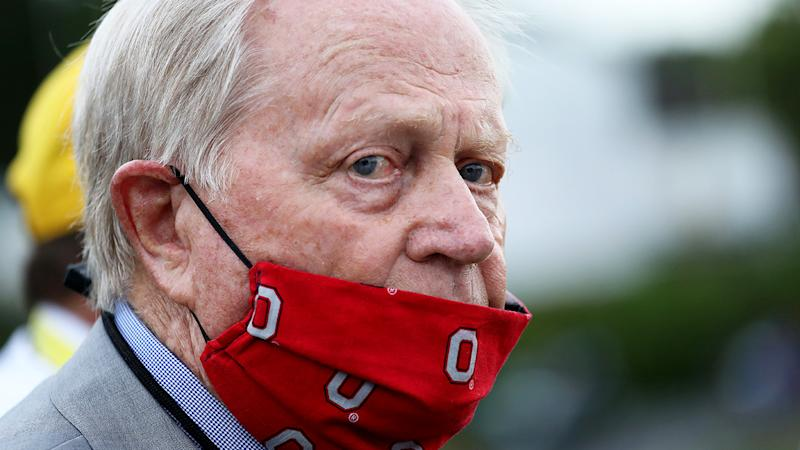 Jack Nicklaus is pictured wearing a face mask during The Memorial Tournament.