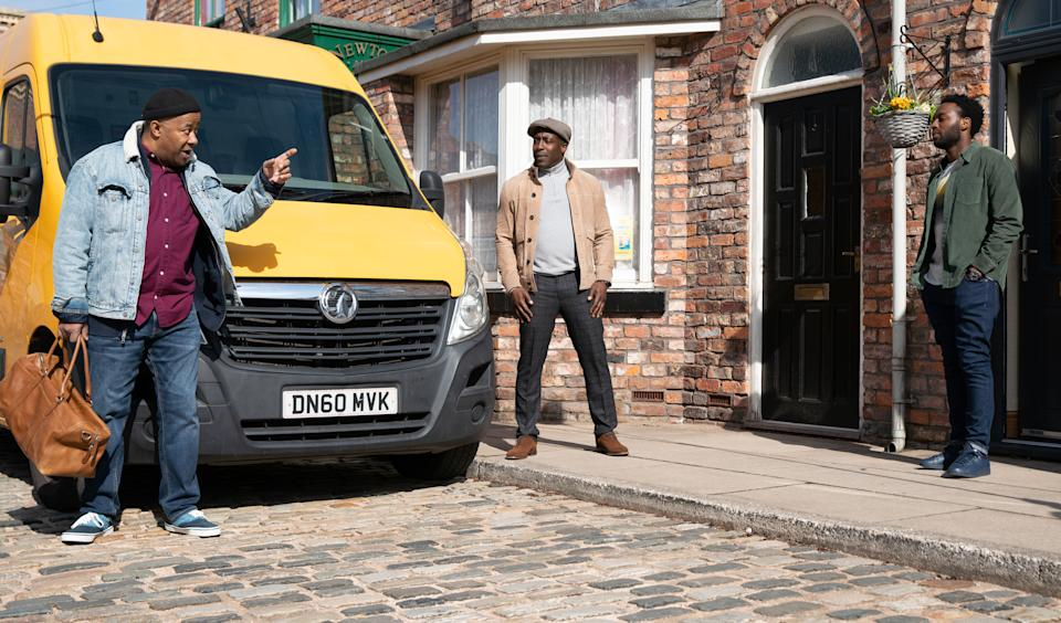 FROM ITV  STRICT EMBARGO - No Use Before Tuesday 4th May 2021  Coronation Street - Ep 10325/26  Friday 14th May 2021  Michael Bailey [RYAN RUSSELL] and Ronnie Bailey [VINTA MORGAN] see Ed Bailey [TREVOR MICHAEL GEORGES] off on his trip to Birmingham. Ronnie makes a couple of light-hearted jibes, but Ed fails to see the funny side and Ronnie feels wretched.  Picture contact David.crook@itv.com   Photographer - Danielle Baguley  This photograph is (C) ITV Plc and can only be reproduced for editorial purposes directly in connection with the programme or event mentioned above, or ITV plc. Once made available by ITV plc Picture Desk, this photograph can be reproduced once only up until the transmission [TX] date and no reproduction fee will be charged. Any subsequent usage may incur a fee. This photograph must not be manipulated [excluding basic cropping] in a manner which alters the visual appearance of the person photographed deemed detrimental or inappropriate by ITV plc Picture Desk. This photograph must not be syndicated to any other company, publication or website, or permanently archived, without the express written permission of ITV Picture Desk. Full Terms and conditions are available on  www.itv.com/presscentre/itvpictures/terms