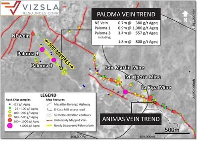 Figure 1: Plan map showing locations of Paloma Vein samples and surface sample results (CNW Group/Vizsla Resources Corp.)