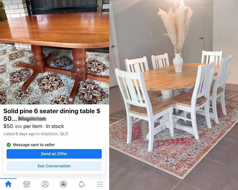 Whitney's dining table before and after the makeover. Photo: Facebook (supplied).