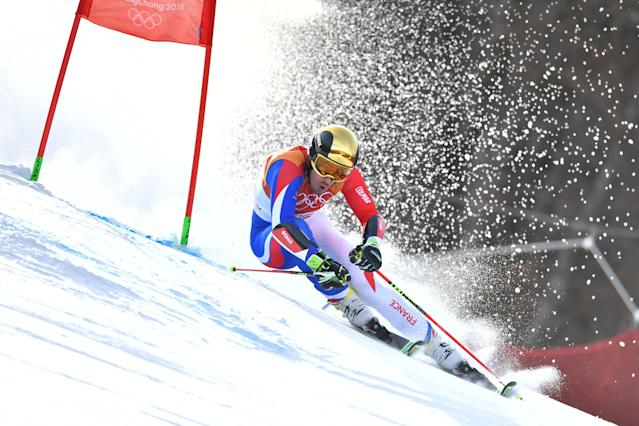 <p>France's Victor Muffat-Jeandet competes in the Men's Giant Slalom at the Jeongseon Alpine Center during the Pyeongchang 2018 Winter Olympic Games in Pyeongchang on February 18, 2018. / AFP PHOTO / Fabrice COFFRINI </p>