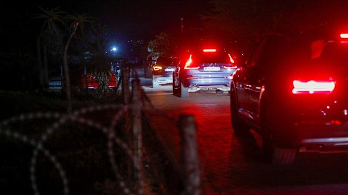 A convoy enters the homestead of former South African President Jacob Zuma in Nkandla, South Africa
