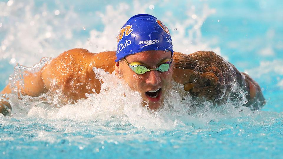 Caeleb Dressel, pictured here in action at the TYR Pro Swim Series in March.
