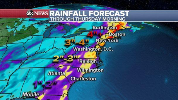 PHOTO: Preliminary forecasting shows the potential for over two inches of rain from the Carolinas to New England. (ABC News)