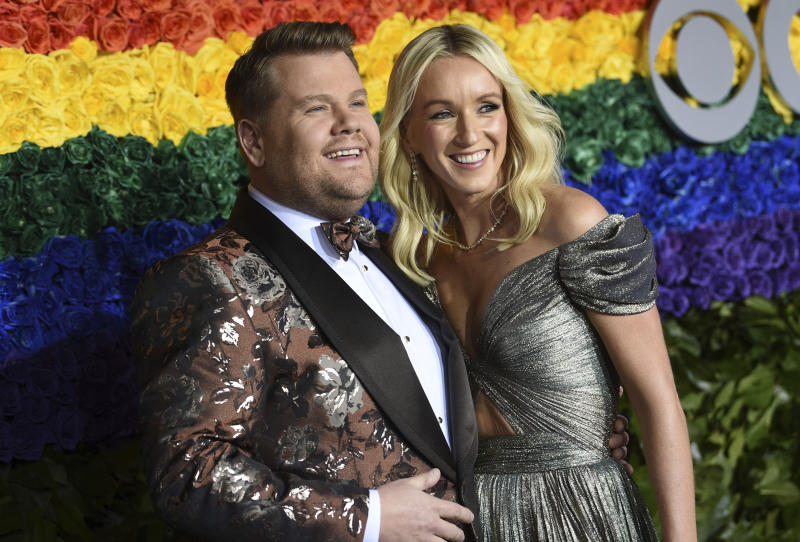 James Corden, left, and Julia Carey arrive at the 73rd annual Tony Awards at Radio City Music Hall on Sunday, June 9, 2019, in New York. (Photo by Evan Agostini/Invision/AP)