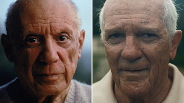 On the left, Pablo Picasso. On the right, Antonio Banderas as Picasso. (Photo: Getty Images/National Geographic)
