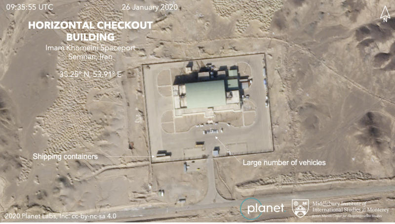 This Jan. 26, 2020, satellite image from Planet Labs Inc. that has been annotated by experts at the James Martin Center for Nonproliferation Studies at Middlebury Institute of International Studies shows activity at the Imam Khomeini Space Center in Iran's Semnan province. Iranian officials and satellite images suggest the Islamic Republic is preparing to launch a satellite into space after three major failures last year, the latest for a program which the U.S. claims helps Tehran advance its ballistic missile program. (Planet Labs Inc. Middlebury Institute of International Studies via AP)