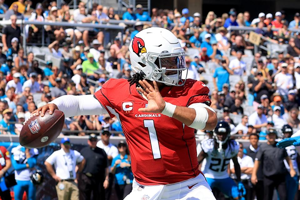 JACKSONVILLE, FLORIDA - SEPTEMBER 26: Kyler Murray #1 of the Arizona Cardinals attempts a pass during the game against the Jacksonville Jaguars at TIAA Bank Field on September 26, 2021 in Jacksonville, Florida. (Photo by Sam Greenwood/Getty Images)