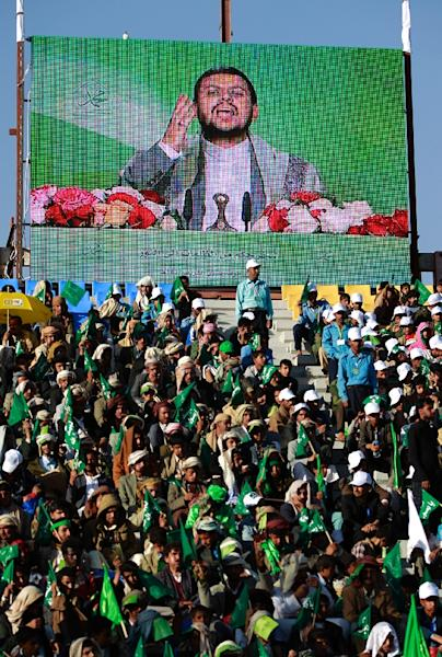 A speech by Abdul-Malik al-Houthi screened at a football stadium in the Yemeni capital, Sanaa, on December 23, 2015 (AFP Photo/Mohammed Huwais)