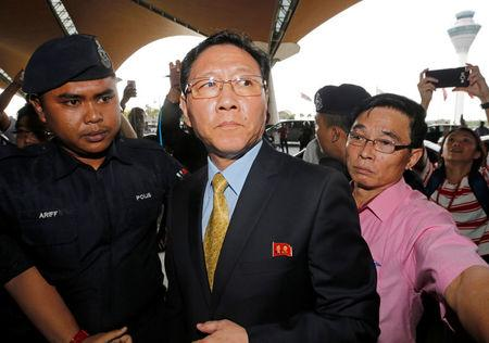 North Korean Ambassador to Malaysia Kang Chol arrives at Kuala Lumpur international airport in Sepang