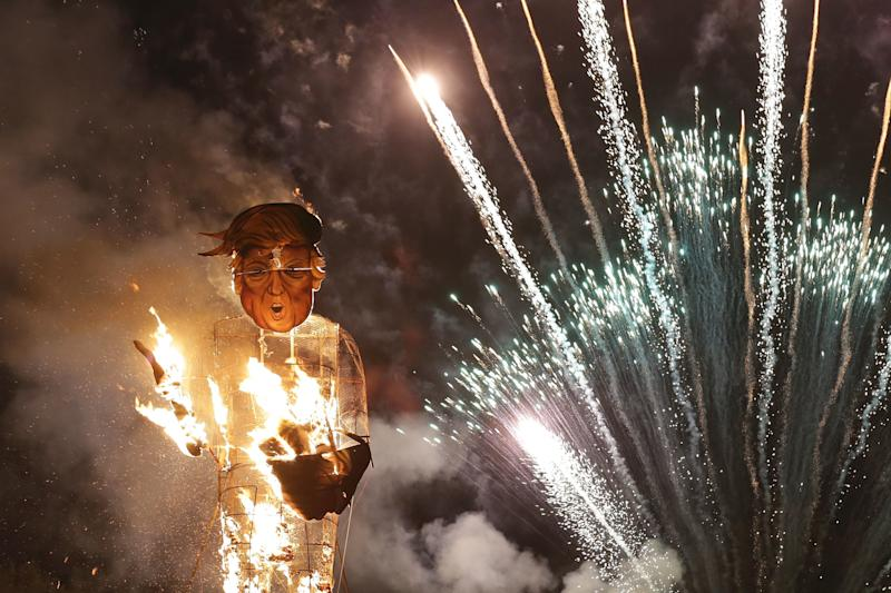An effigy of Donald Trump was sent up in flames in Edenbridge, England, in 2016. (DANIEL LEAL-OLIVAS via Getty Images)