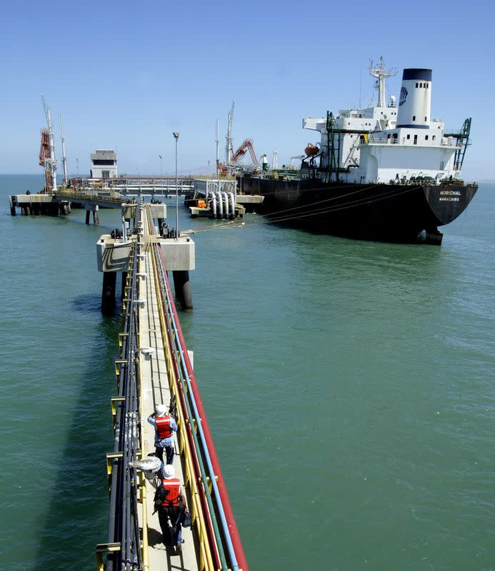FILE PHOTO: File photo shows oil tanker at Jose refinery cargo terminal in Venezuela
