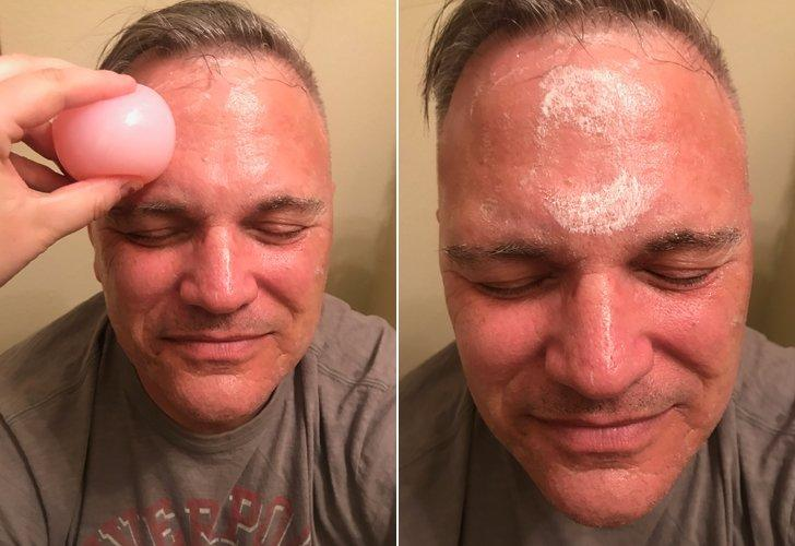 """<p><strong>The process:</strong> This Bliss cleansing ball is the product that started this experiment. My dad took a seat while I unwrapped the product and dampened it so that soap would start coming out. I began rubbing it on his face, and he was totally perplexed. We were both howling as his face got sudsy. He then washed the soap off and dried off his face.</p> <p><strong>Dad's verdict:</strong> """"The texture was freaky, but I feel clean now,"""" he said. He was very concerned that I wasn't getting it in his pores while I used it and kept reminding me. Overall, his skin was softer and he had a nice little glow going on.</p>"""