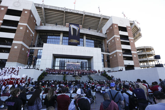 Bryant–Denny Stadium is seen during the presention of the National Championship trophy during the NCAA college football championship celebration, Saturday, Jan. 20, 2018, in Tuscaloosa, Ala. Alabama won the national championship game against Georgia 26-23 in overtime. (AP Photo/Brynn Anderson)