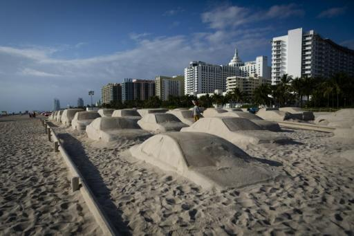 """""""Order of Importance,"""" situated on Miami's famous seafront, gives the visitor the impression of seeing heavy traffic bogged down on the beach"""