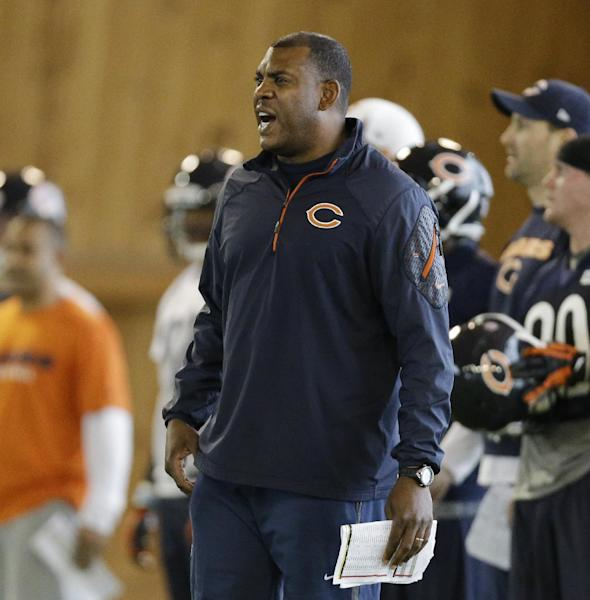 Chicago Bears defensive coordinator Mel Tucker yells to players during the team's NFL football rookie camp Friday, May 16, 2014, in Lake Forest, Ill. (AP Photo/Nam Y. Huh)