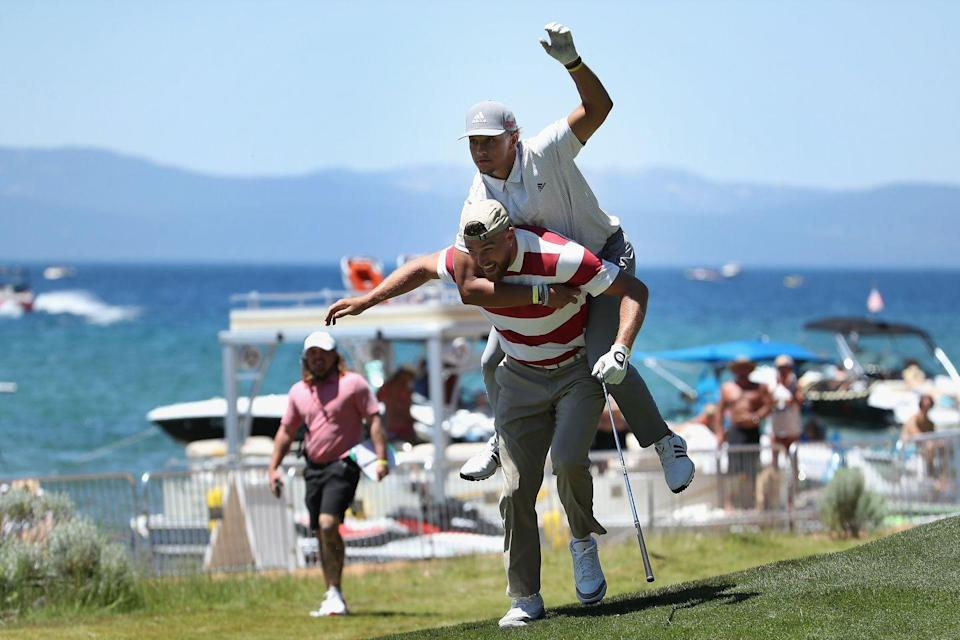<p>Travis Kelce and Patrick Mahomes of the Kansas City Chiefs react to a tee shot on the 17th hole during round two of the American Century Championship at Edgewood Tahoe South golf course in July 2020.</p>