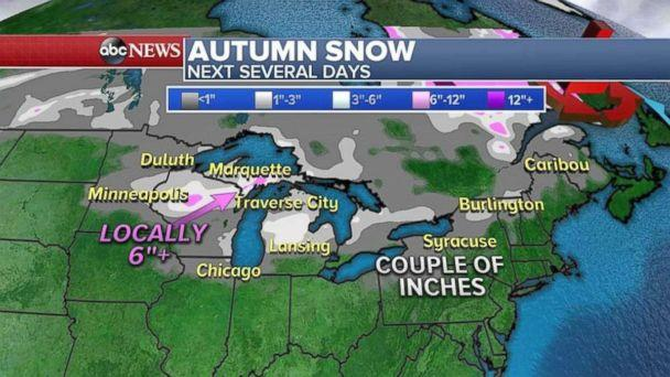 Snowfall around the Great Lakes could reach 6 inches or more in some areas. (ABC NEWS)