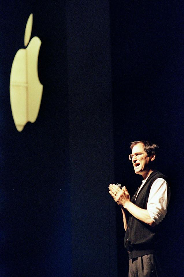 <p>10 years later in June 2007, Jobs stood on stage at the Macworld convention and announced the first iPhone. [Image: Getty] </p>