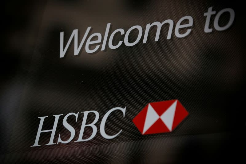 HSBC logo is seen on a branch bank in the financial district in New York