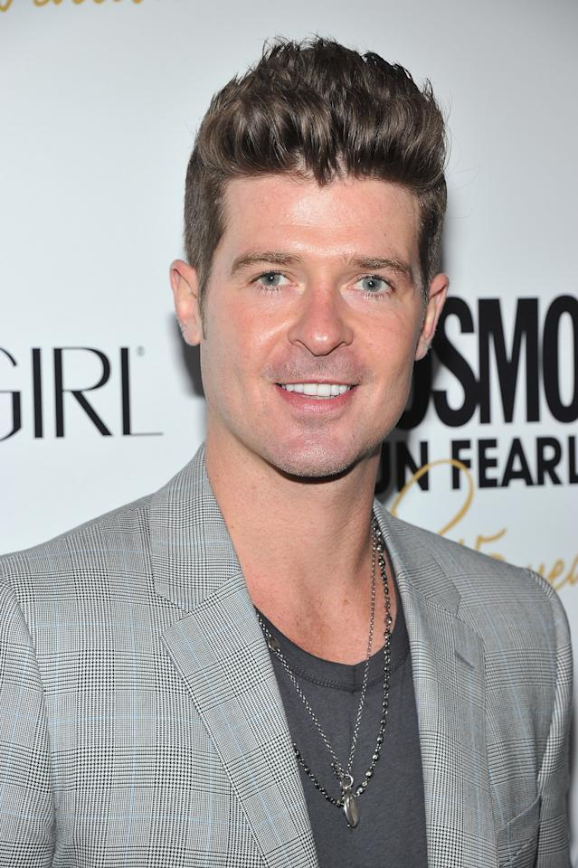 NEW YORK, NY - MARCH 05:  Robin Thicke attends the Cosmopolitan Fun Fearless Men and Women of 2012 at the Mandarin Oriental Ballroom on March 5, 2012 in New York City.  (Photo by Theo Wargo/Getty Images)