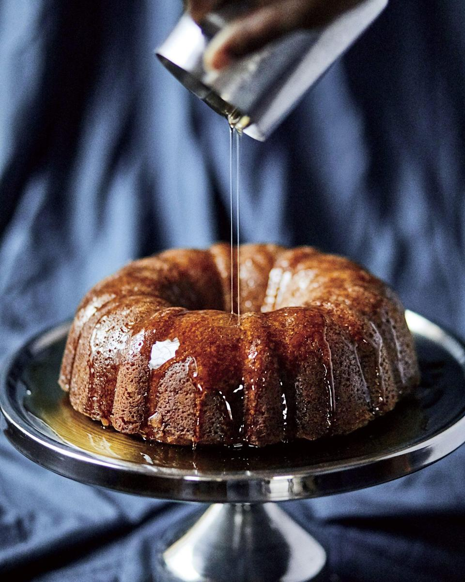 """<p><strong>Recipe: <a href=""""https://www.southernliving.com/recipes/rum-cake"""" rel=""""nofollow noopener"""" target=""""_blank"""" data-ylk=""""slk:Mama's Rum Cake"""" class=""""link rapid-noclick-resp"""">Mama's Rum Cake</a></strong></p> <p>Warm up a cold fall night with this comforting rum cake courtesy of Mildred """"Mama Dip"""" Council of the famed Mama Dip's Kitchen in Chapel Hill, North Carolina.</p>"""