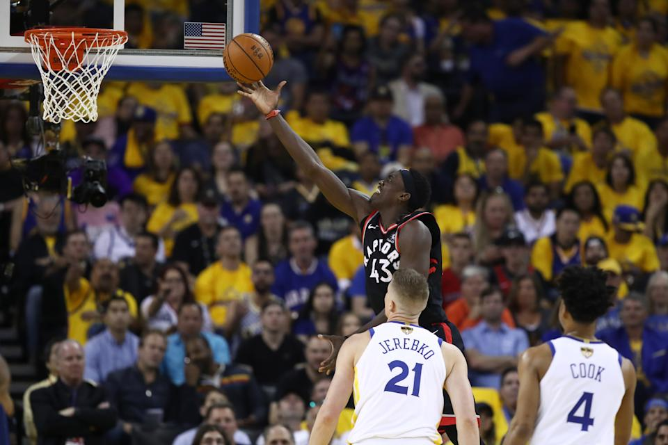 Pascal Siakam #43 of the Toronto Raptors attempts a shot against the Golden State Warriors in the first half during Game Three of the 2019 NBA Finals at ORACLE Arena on June 05, 2019 in Oakland, California. (Photo by Ezra Shaw/Getty Images)