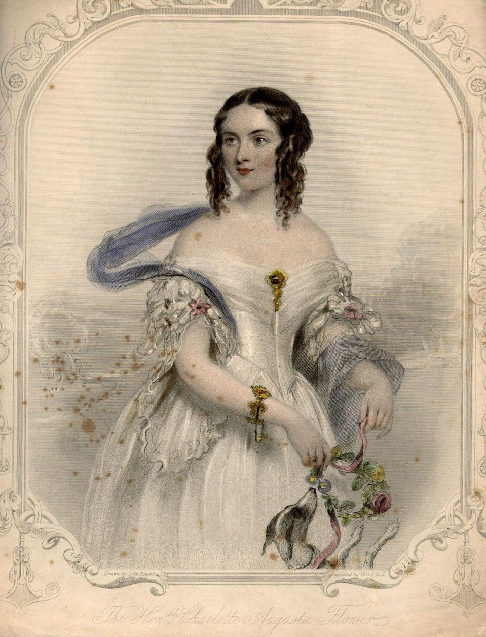 <p>Full skirts began making a comeback in the early 1800s, and off-the-shoulder sleeves started to have their own moment.</p>