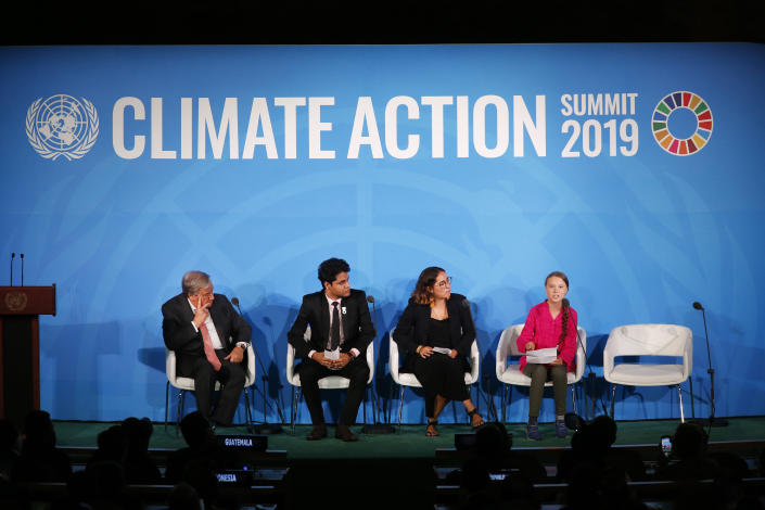 FILE - United Nations Secretary-General Antonio Guterres, far left, and young environmental activists look on as Greta Thunberg, of Sweden, far right, addresses the Climate Action Summit in the United Nations General Assembly, at U.N. headquarters, Monday, Sept. 23, 2019. In his General Assembly opening address on Tuesday, Sept. 21, 2021, U.N. Secretary-General Antonio Guterres practically scolded world leaders for disappointing young people with a perceived inaction on climate change, inequalities and the lack of educational opportunities, among other issues important to young people. (AP Photo/Jason DeCrow)