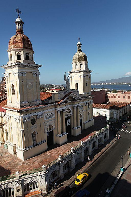 A view of the cathedral in Santiago de Cuba, Cuba.