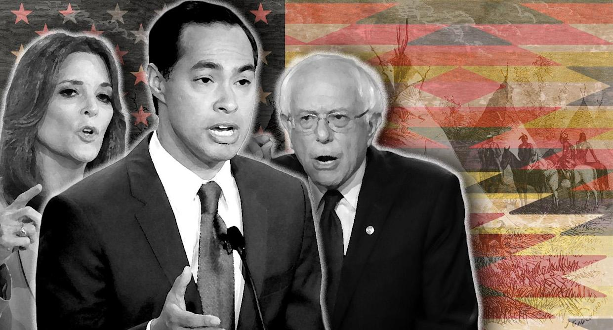 Marianne Williamson, Julián Castro and Bernie Sanders. (Photo illustration: Yahoo News; photos: AP (3), Getty Images (2), AP)