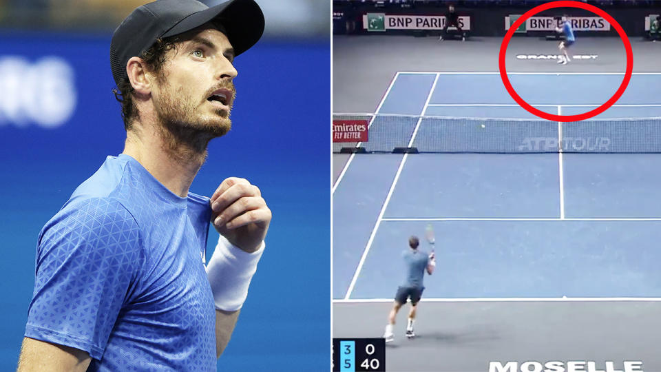 Andy Murray, pictured here securing his place in the quarter-finals.