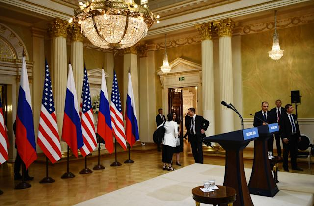 <p>The press conference room is pictured ahead the joint press conference of the U.S. and the Russian Presidents after a meeting at the Presidential Palace in Helsinki, on July 16, 2018. (Photo: Brendan Smialowski/AFP/Getty Images) </p>