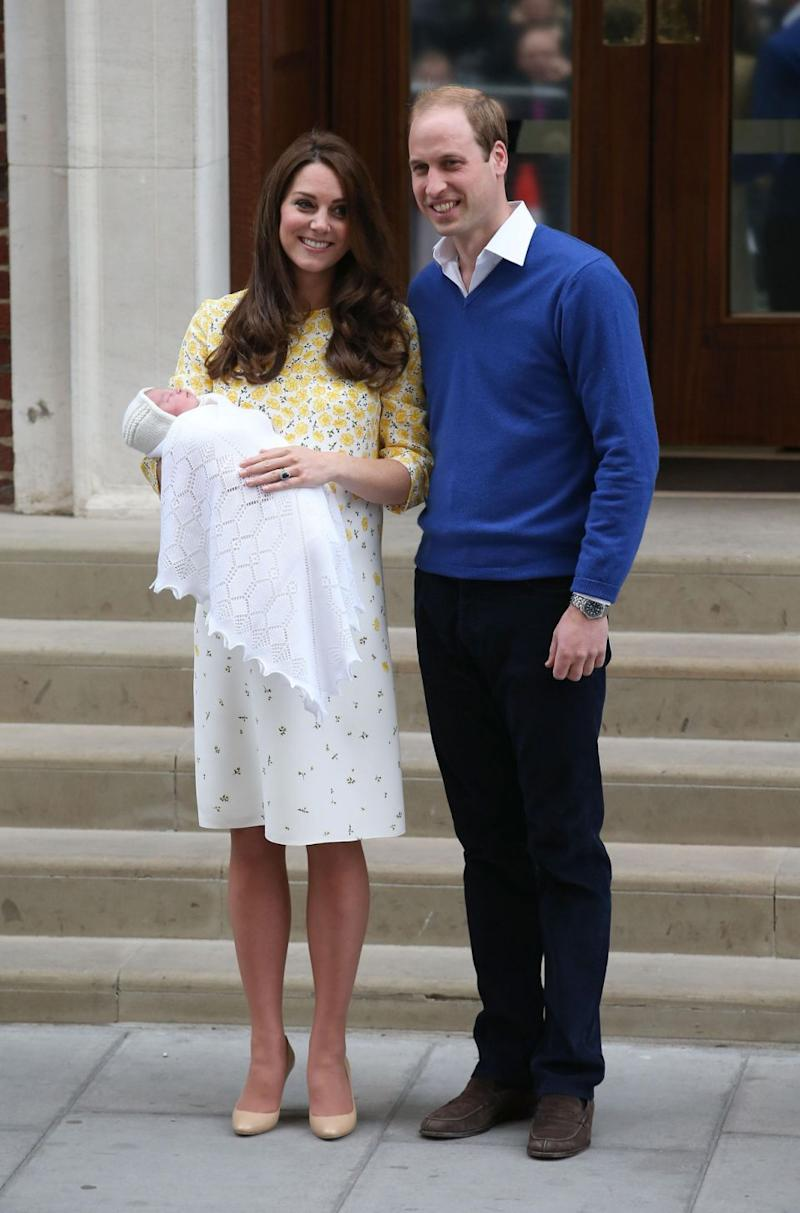 While, Princess Charlotte was born in May 2015 just two hours and 34 minutes after Kate arrived at the Lindo Wing. Photo: Getty Images
