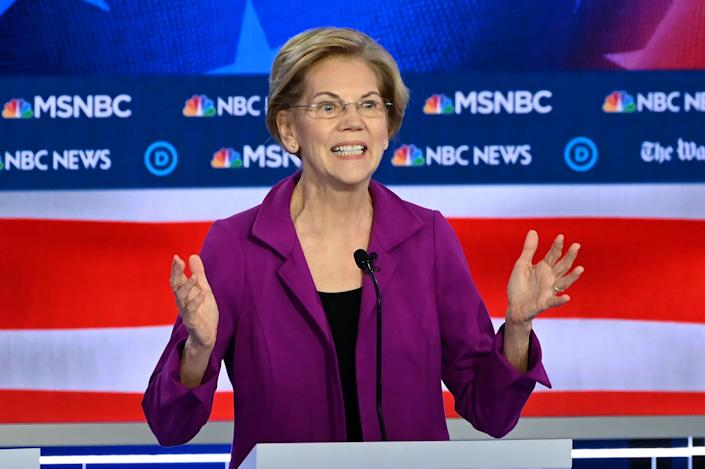 Warren defended her proposed wealth tax during the debate. (Photo: SAUL LOEB/AFP via Getty Images)