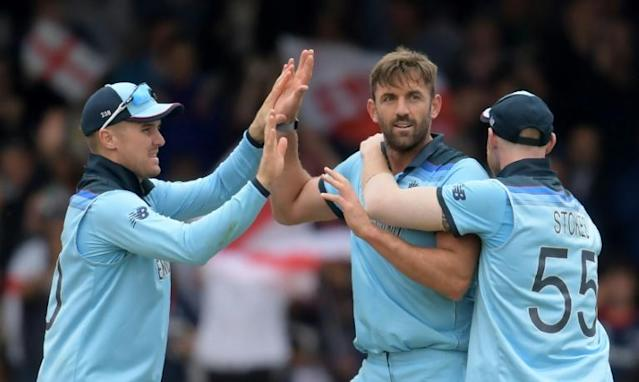 Liam Plunkett led England's bowling barrage as they took control in the World Cup final against New Zealand (AFP Photo/Dibyangshu Sarkar)