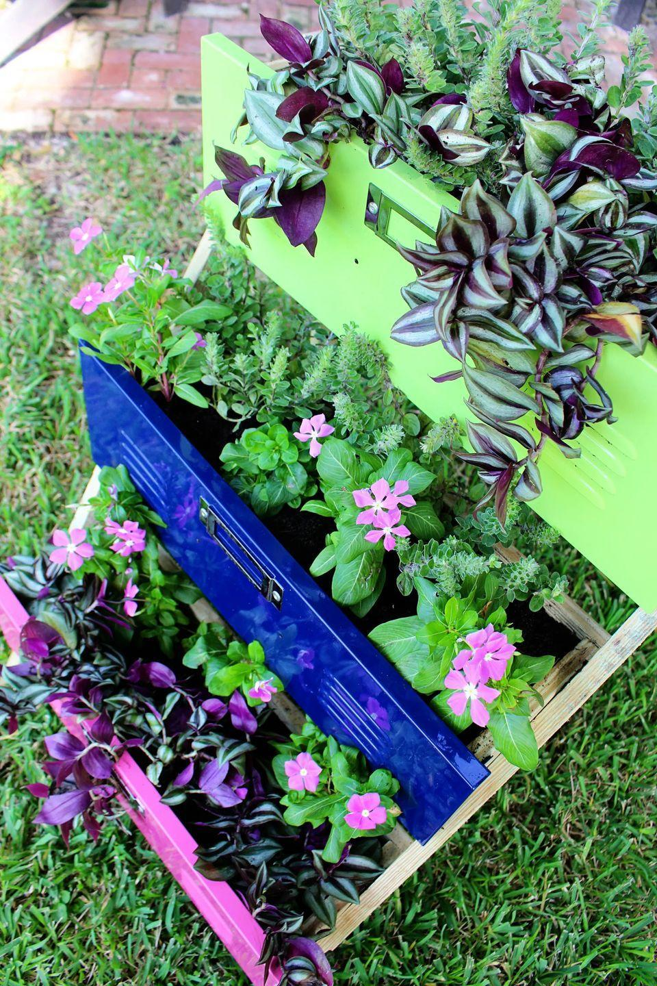 """<p>A set of old locker drawers scored at a thrift store is transformed into a unique planter with a few coats of vibrant paint.</p><p><strong>Get the tutorial at <a href=""""http://withinthegrove.com/diy-garden-planters-using-locker-drawers/"""" rel=""""nofollow noopener"""" target=""""_blank"""" data-ylk=""""slk:Within the Grove"""" class=""""link rapid-noclick-resp"""">Within the Grove</a>.</strong></p><p><a class=""""link rapid-noclick-resp"""" href=""""https://go.redirectingat.com?id=74968X1596630&url=https%3A%2F%2Fwww.walmart.com%2Fip%2FGorilla-Wood-Glue-Natural-Wood-Color-4-ounce-Bottle%2F52552281&sref=https%3A%2F%2Fwww.thepioneerwoman.com%2Fhome-lifestyle%2Fgardening%2Fg36556911%2Fdiy-planters%2F"""" rel=""""nofollow noopener"""" target=""""_blank"""" data-ylk=""""slk:SHOP WOOD GLUE"""">SHOP WOOD GLUE</a></p>"""