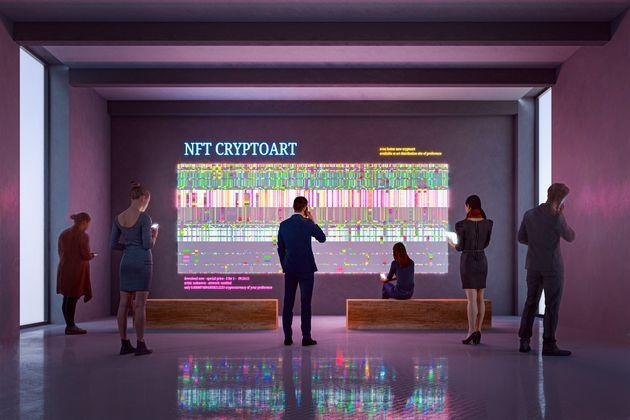 NFT CryptoArt display in art gallery with people using smart phones and digital tablets. Entrirely 3D generated image. Image on the walls is my own and it's a 3D generated images as well. (Photo: gremlin via Getty Images)