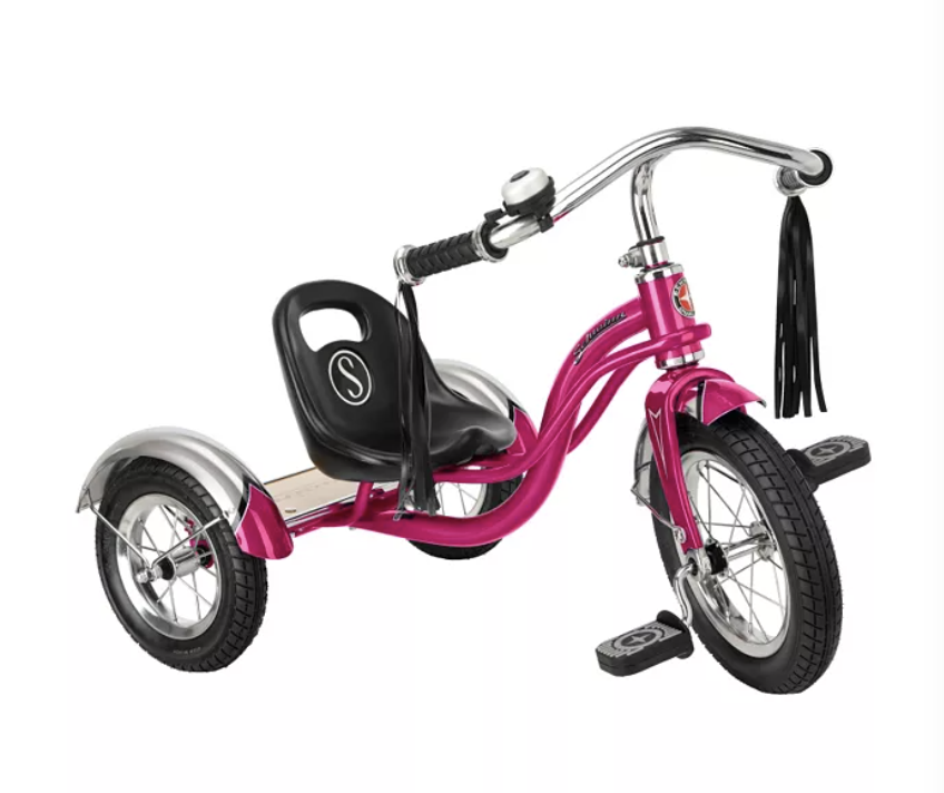"<p><strong>Schwinn</strong></p><p>amazon.com</p><p><strong>$109.99</strong></p><p><a href=""https://www.amazon.com/dp/B000TLC4JA?tag=syn-yahoo-20&ascsubtag=%5Bartid%7C10055.g.34507465%5Bsrc%7Cyahoo-us"" rel=""nofollow noopener"" target=""_blank"" data-ylk=""slk:Shop Now"" class=""link rapid-noclick-resp"">Shop Now</a></p><p>The Schwinn Roadster is a retro low-rider available in lots of fun colors like hot pink, teal and orange. And the chrome details and tasseled handlebars top off the Insta-worthy photo backdrop! Good Housekeeping engineers love that<strong> it's well-constructed with a durable steel frame, allowing for higher weight support.</strong> </p><p><strong>Ages:</strong> 3-5 years old<strong><br>Max Weight: </strong>50 pounds<strong><br></strong></p>"