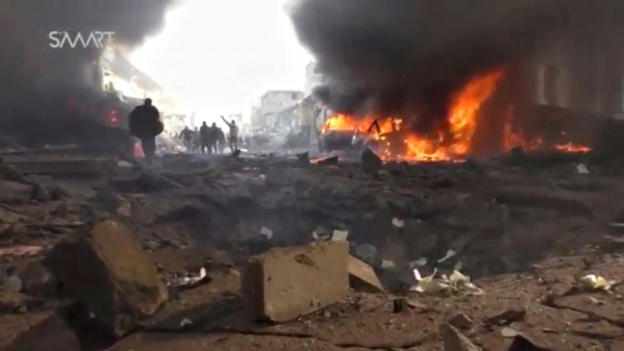 <p>A still image taken from a video obtained by Reuters at the scene where a fuel truck exploded in the centre of rebel-held Azaz, near Syria's border with Turkey, January 7, 2017. (REUTERS TV/via Reuters) </p>