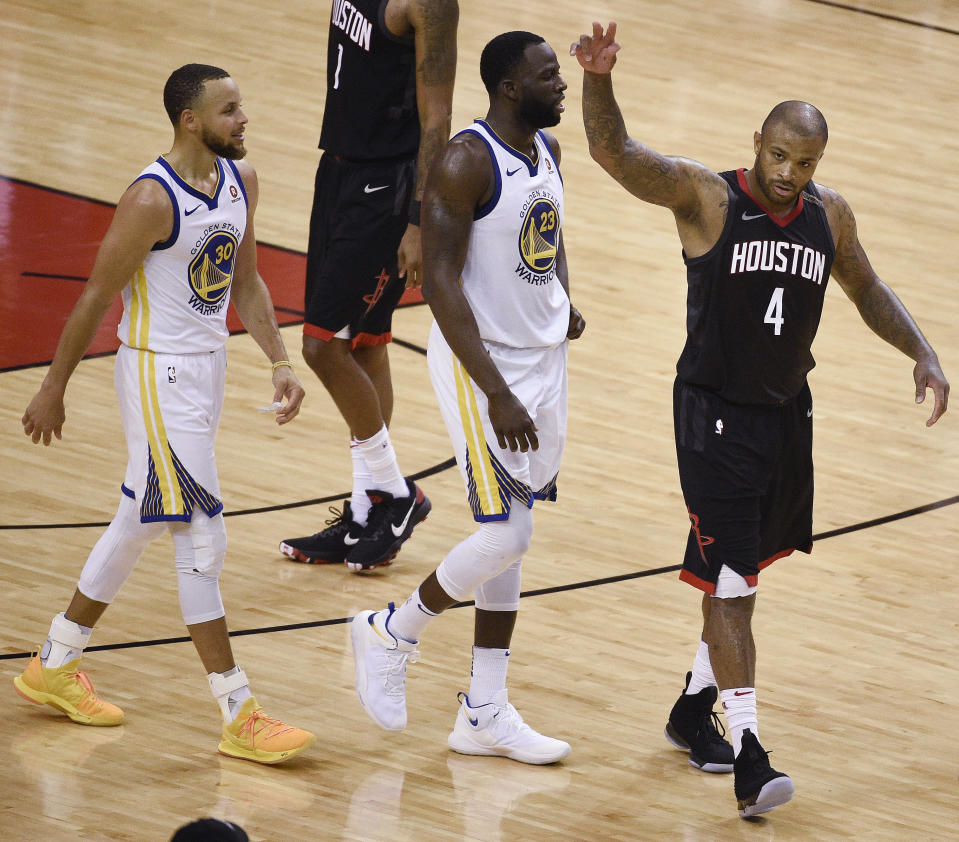 PJ Tucker and the Rockets came up with the big plays they needed late to knock off Stephen Curry, Draymond Green and the Warriors, and take a 3-2 lead in the Western Conference finals. (AP)