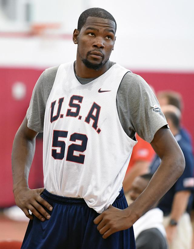 LAS VEGAS, NV - JULY 30: Kevin Durant #52 of the 2014 USA Basketball Men's National Team stands on the court during a practice session at the Mendenhall Center on July 30, 2014 in Las Vegas, Nevada. (Photo by Ethan Miller/Getty Images)