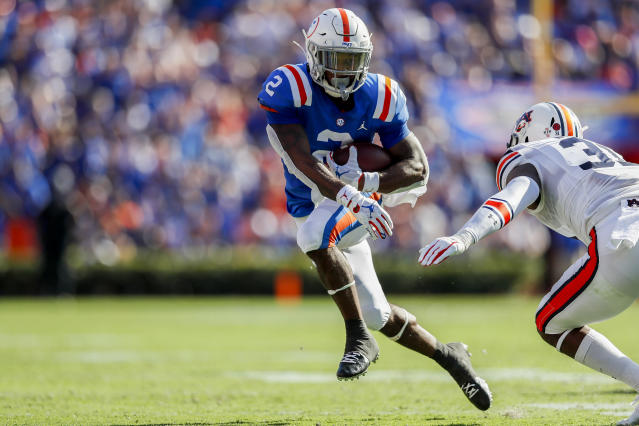 Florida RB Lamical Perine delivered a huge late TD against Auburn. (Getty Images)