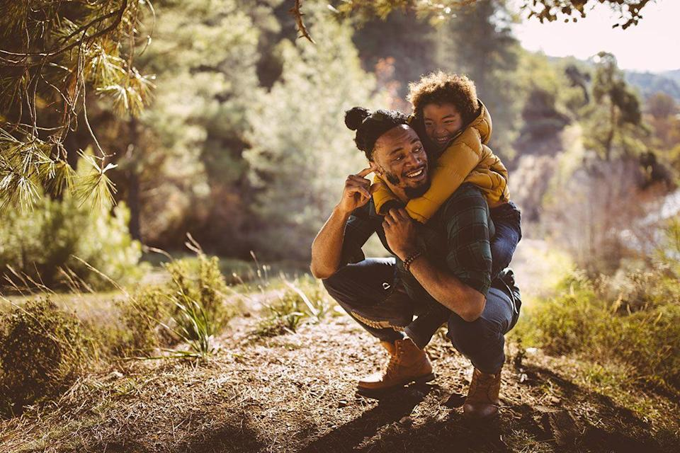 <p>Take in the great outdoors by walking through the park, hiking at a nearby mountain or going for a bike ride through a forest preserve. Both you and Dad will enjoy the chance to spend some quality family time together without the distractions found at home. </p>