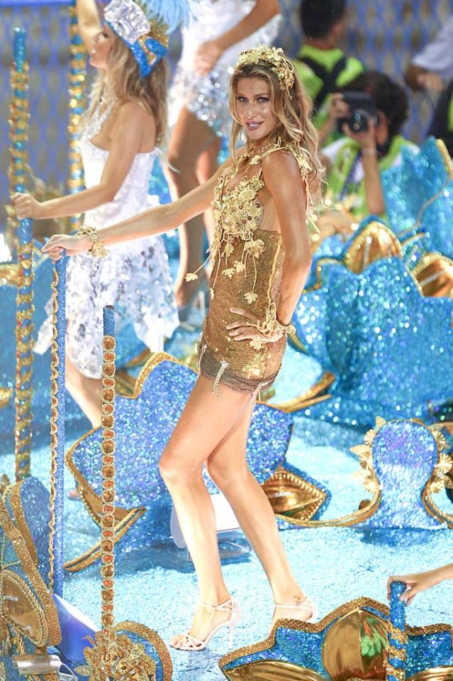 """Brazilian supermodel Gisele Bundchen showed off her best assets when she strutted her stuff on one of the blingin' floats during Carnival celebrations at Sambadrome in Rio de Janeiro on Monday. Wagner Az/<a href=""""http://www.pacificcoastnews.com/"""" target=""""new"""">PacificCoastNews.com</a> - March 7, 2011"""