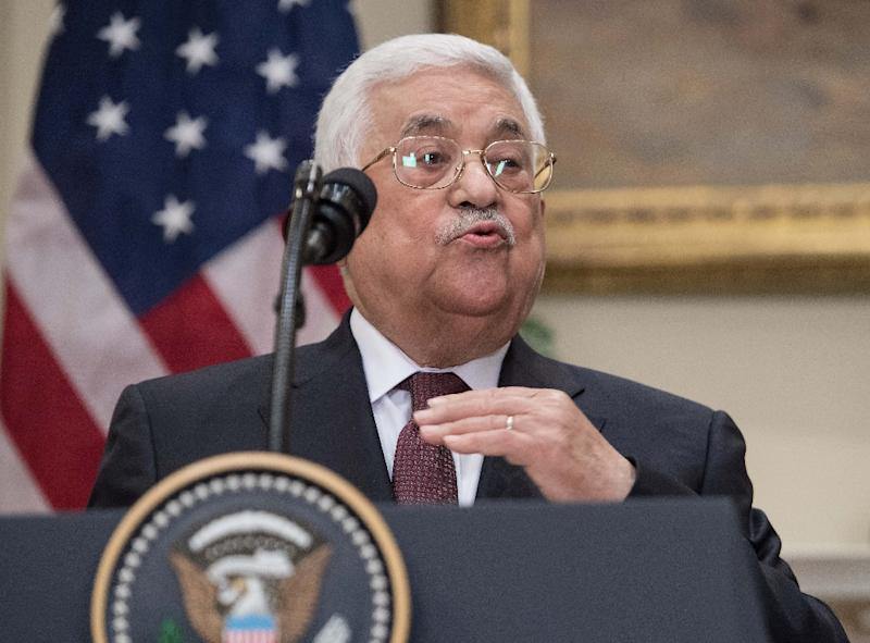Palestinian president Mahmud Abbas makes a statement with US President Donald Trump in the Roosevelt Room at the White House in Washington, DC, on May 3, 2017
