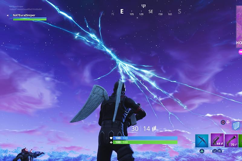 Watch the crazy 'Fortnite' rocket launch into space and crack the sky