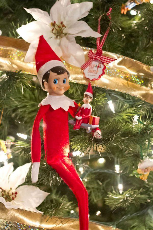 """<p>Elves get into the Christmas spirit, too! Have him deck the halls with an inexpensive ornament in his own image.</p><p><strong>Get the tutorial at <a href=""""http://www.sweetshoppedesigns.com/index.php/2013/10/24-days-of-elf-on-the-shelf/"""" rel=""""nofollow noopener"""" target=""""_blank"""" data-ylk=""""slk:Shoppe Sweet Designs"""" class=""""link rapid-noclick-resp"""">Shoppe Sweet Designs</a>.</strong></p><p><a class=""""link rapid-noclick-resp"""" href=""""https://www.amazon.com/Elf-Shelf-Christmas-Stocking-Stuffer/dp/B076TLJSLW/ref=sr_1_4?tag=syn-yahoo-20&ascsubtag=%5Bartid%7C10050.g.22690552%5Bsrc%7Cyahoo-us"""" rel=""""nofollow noopener"""" target=""""_blank"""" data-ylk=""""slk:SHOP ELF ORNAMENTS"""">SHOP ELF ORNAMENTS </a></p>"""