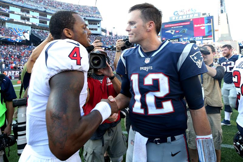 Deshaun Watson stood tall in a loss to Tom Brady and the New England Patriots earlier in the season. (Getty Images)